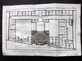 Diderot 1780's Antique Print. Architecture 18 Plan Penthemont Abbey